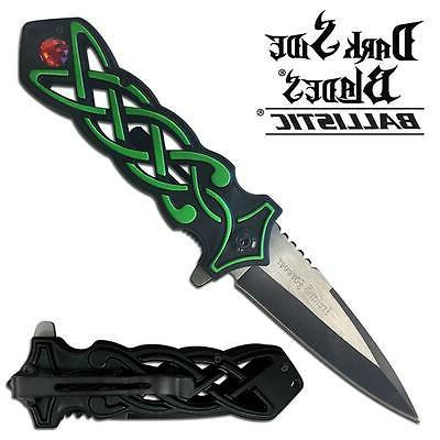 blades spring assisted folder with black green