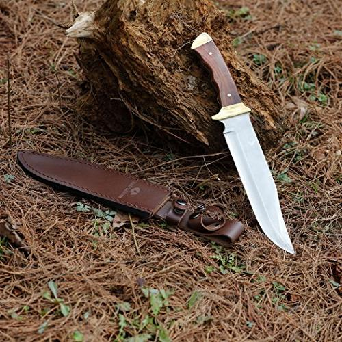 Mossy Oak Bowie Knife Wood with Leather Sheath