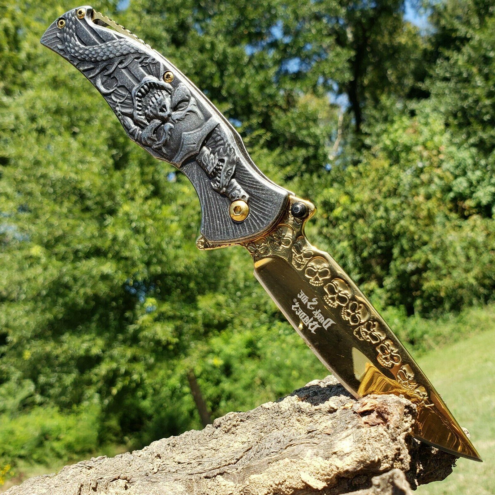 fantsy skull folding pocket knife spring assist