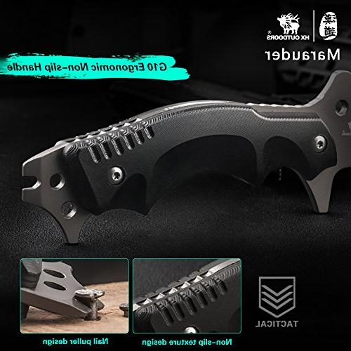 HX outdoors Blade outdoor knife,Special anti-skidding Handle