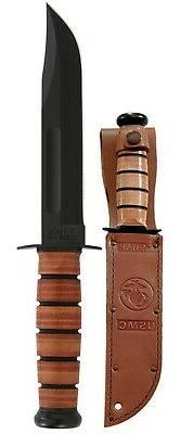 KaBar 1217 Fighting/Utility Knife USMC Leather Sheath Straig