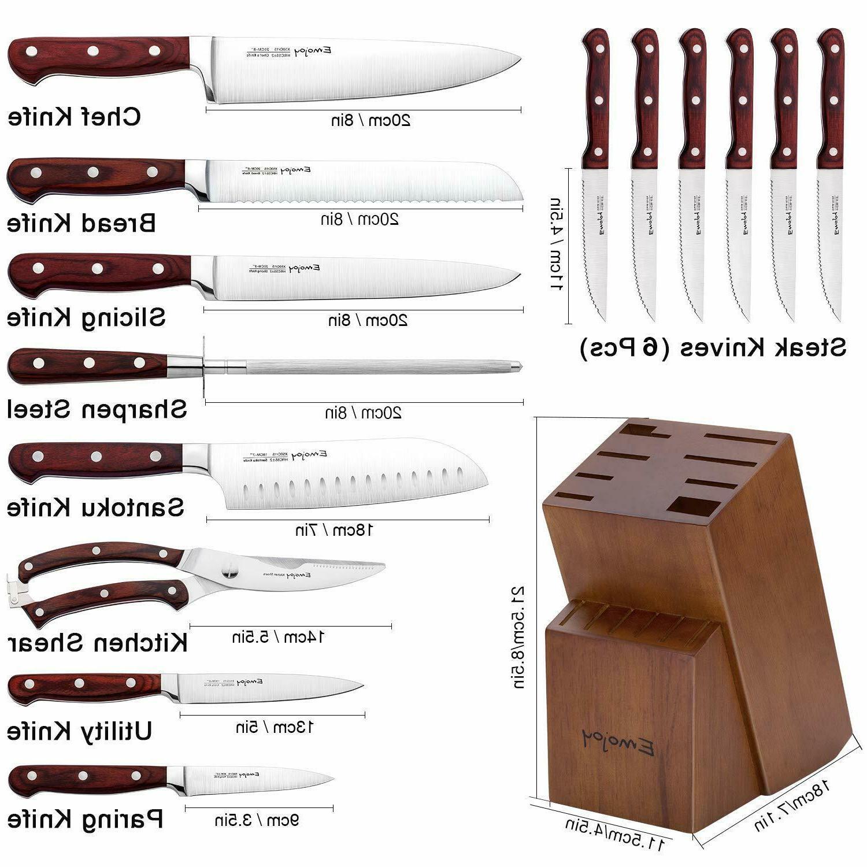 Knife Set, 15-Piece Knife Block Wooden German