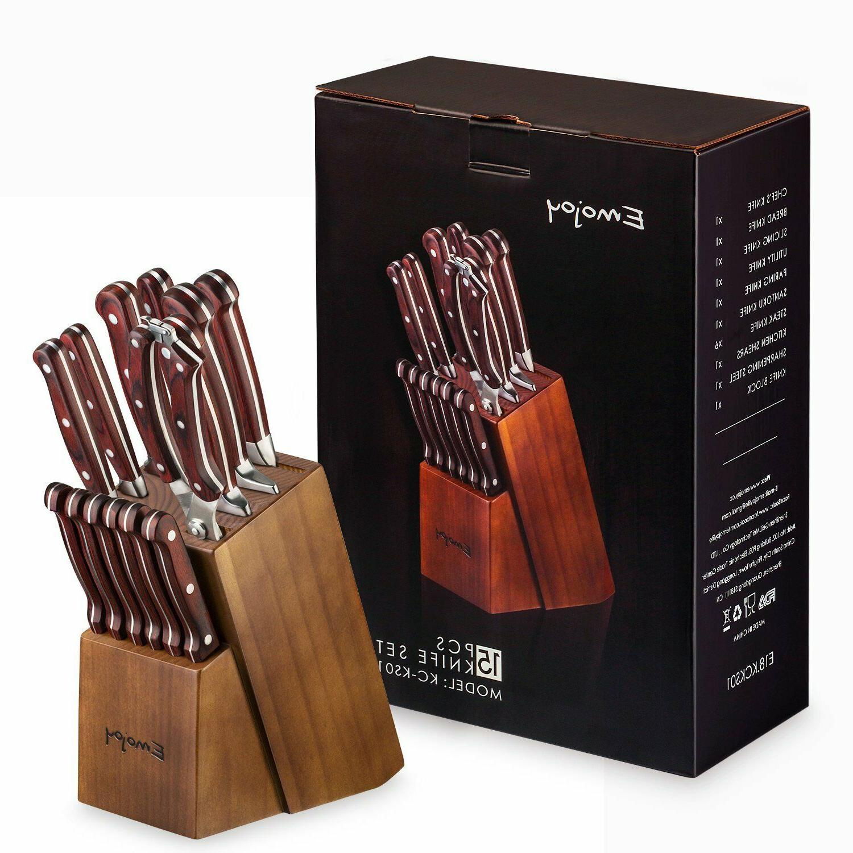 Knife Set, 15-Piece Kitchen Knife Set with Block Wooden