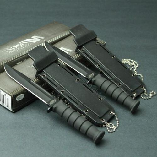 Lot 2 MTECH Tactical 440 Blade Neck Knives Black