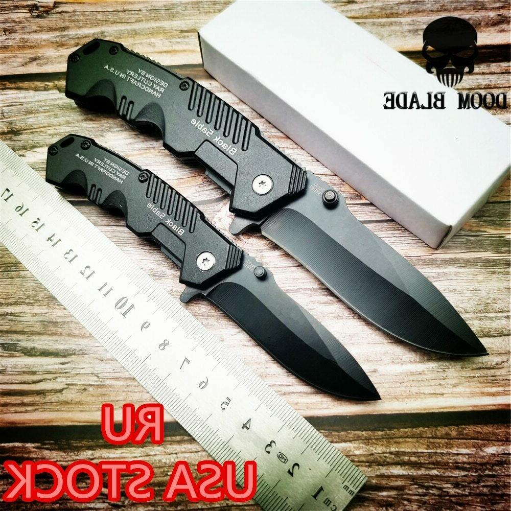quick open knives black folding pocket knife