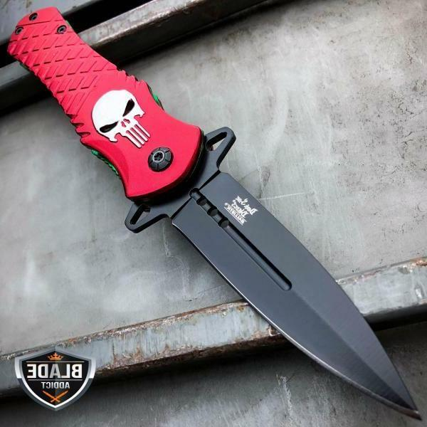 skull punisher red tactical spring assisted open