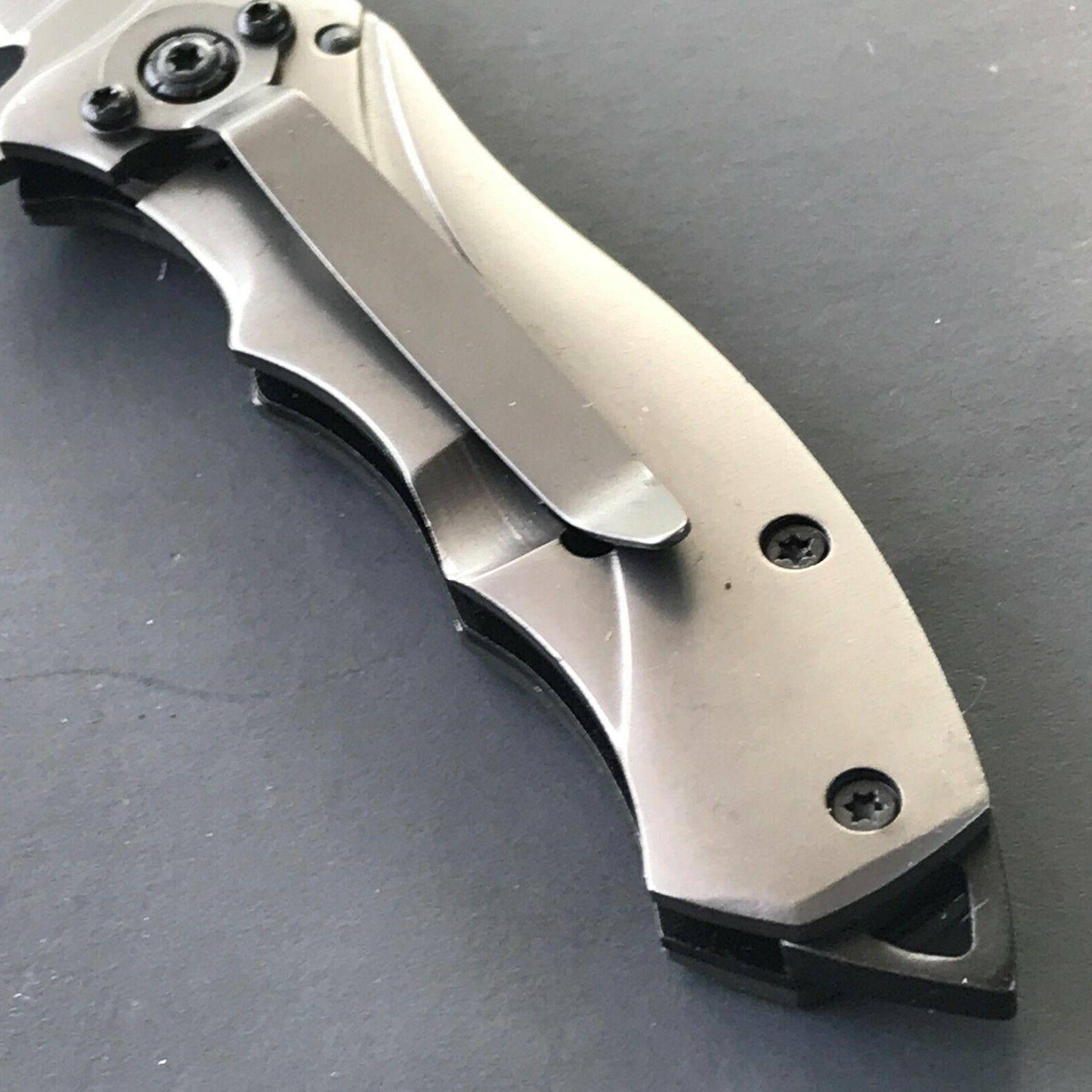TAC SPRING ASSISTED TACTICAL Titanium Pocket Knife Blade