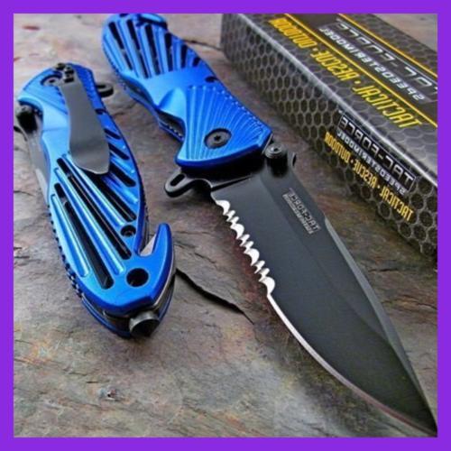 Tac Force Speedster BLUE High Carbon Rescue Glass Breaker Kn