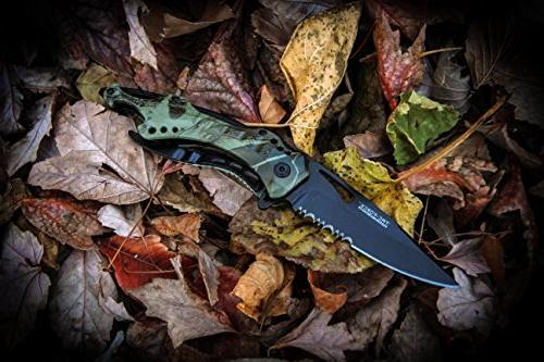 TAC Opening Tactical Folding Black Half-Serrated Blade, Camo Closed, Grey