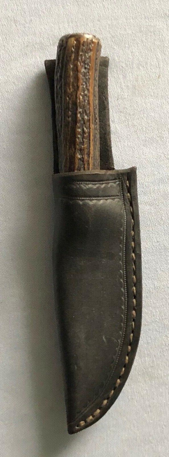 "Tim Ridge SWAMP FOX Drop Point Stag-Hdled 7 3/8"" Belt Knife"