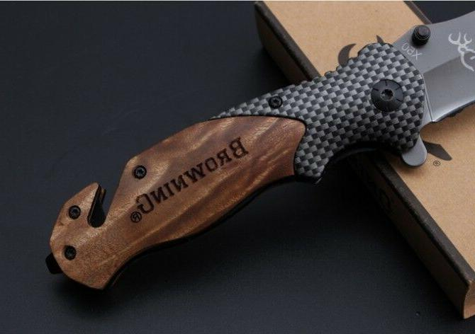 Folding Tactical Pocket Knife Hunting Camping Tool BROWNING