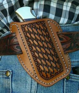 Large Leather Cross Draw Pocket Knife Sheath Ruff's Saddle