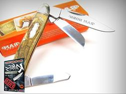 MARBLES Rams Horn STOCKMAN Stainless 3 Blade Folder Folding