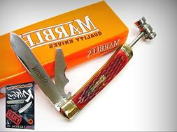MARBLES Red Bone WORKMAN Series TRAPPER 3 Blade Folding HAMM