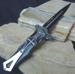 Medieval Assist  BLACK CROSS Celtic Crusader Dagger Pocket K
