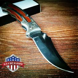 Military Folding Knife 57HRC Wood Handle Outdoor Camping Kni