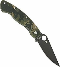 Spyderco  Military Model G-10 Black Blade Plain Edge Knife,