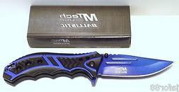 MTECH USA MT-A907BL Spring Assist Folding Knife, Blue Straig