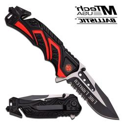 MTECH Serrated FIRE FIGHTER Spring Assist Open Blade Outdoor