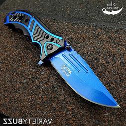 "MTECH USA 8.25"" BLUE SPRING TACTICAL FOLDING POCKET KNIFE As"