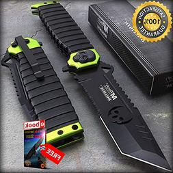 MTECH USA 9.5'' TANTO SKULL GREEN SAWBACK SPRING ASSISTED TA