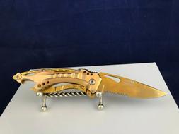 MTech USA Ballistic pocket knife open frame handle all gold