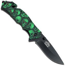 Master USA MU-A001GNSC Spring Assist Folding Knife, Black Bl