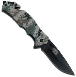 Master USA MU-A001DG Spring Assist Folding Knife, Black Blad