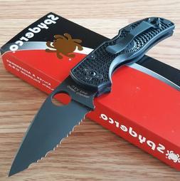 """Spyderco Native 5 Pocket Knife 2.95"""" Serrated Black S35VN St"""