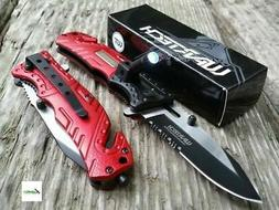 NEW Wartech Red Spring Assisted Pocket Knife w/ LED Light Gl