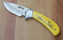 SCHRADE OLD TIMER YELLOW DELRIN SCRIMSHAW DEER HUNTING KNIFE