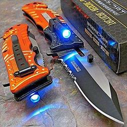 Tac-force Orange EMT LED Tactical Rescue Pocket Knife