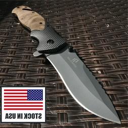 Pocket 8cr15mov Blade Wood Handle Folding Knife Hunting Tact