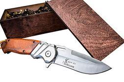 Pocket Knife & Wood Box- Boyfriend or Groomsmen Wooden Gift