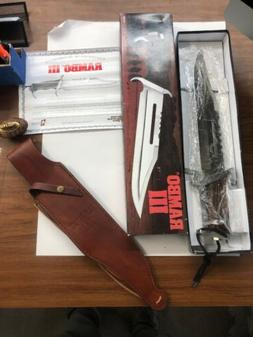 RAMBO III MC-RB3 MASTER CUTLERY KNIFE, LEATHER SHEATH, AND O