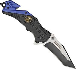 Rescue Police A/O Speed Assisted Linerlock Knife with Blue T