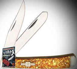 Rough Rider Elite Knife 0111424 Gold Flake Trapper Steel Acr