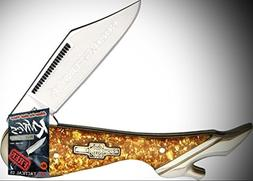 Rough Rider Elite Knife 0111519 Gold Flake Leg Folding 3.25""
