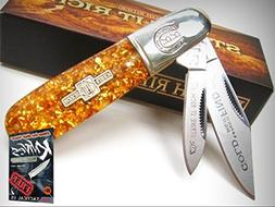 ROUGH RIDER Gold Flake BARLOW 2 Stainless Steel Blade Foldin