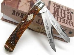 New ROUGH RIDER Honey Comb TRAPPER Stainless 2 Blade Folding