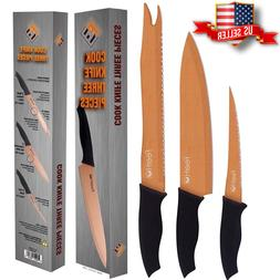 """Set of 3 Professional Cook Knives - Filet 6"""", Pro Chef 8"""" an"""