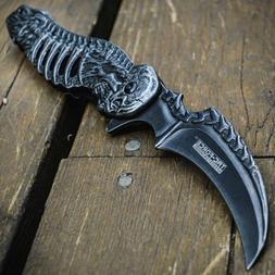 "8"" Skull Spring Assisted Open Folding Pocket Knife Skeleton"