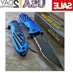 Tac-force Speedster Blue High Carbon Rescue Glass Breaker Kn