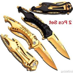 MTECH Sports Spring Assisted Knives w/ Gold Titanium Coated