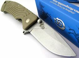 Colt Stonewashed Blade Folder Linerlock Carved G10 Tan Handl