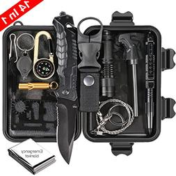 Puhibuox Survival Kit 14 in 1, Upgraded EDC Outdoor Emergenc