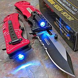 Pocket Knife Tac-Force Red Fire Fighter Led Tactical Rescue