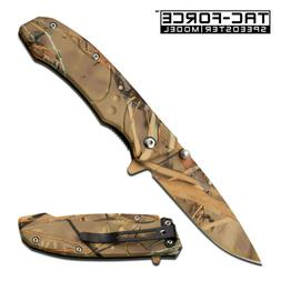 TAC FORCE ASSISTED OPENING POCKET KNIFE RAIN FOREST CAMO 4""