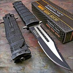 TAC FORCE Black Spring Assisted Open SAWBACK BOWIE Tactical