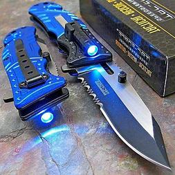 TAC-FORCE Blue POLICE Spring Assisted Open LED Tactical Resc